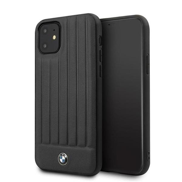 BMW iPhone 11 Pro Max csíkos fekete kemény bőrtok - 1