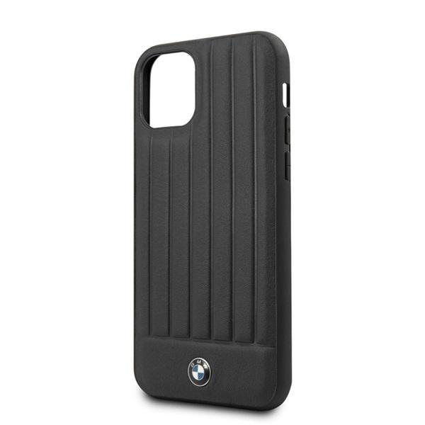 BMW iPhone 11 Pro Max csíkos fekete kemény bőrtok - 2
