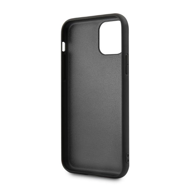 BMW iPhone 11 Pro Max csíkos fekete kemény bőrtok - 3