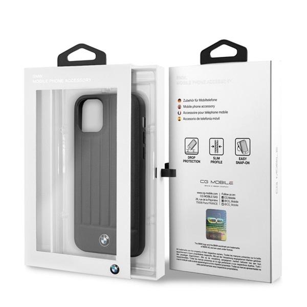BMW iPhone 11 Pro Max csíkos fekete kemény bőrtok - 4