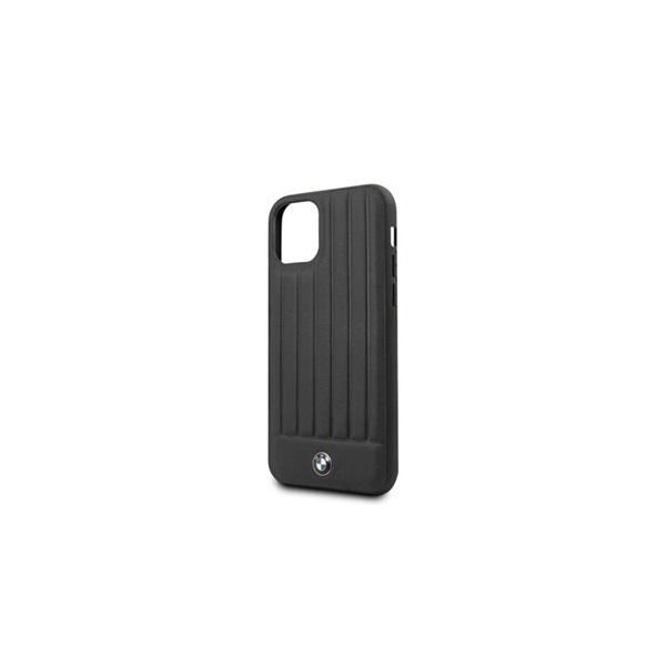 BMW iPhone 11 Pro Max csíkos fekete kemény bőrtok - 5