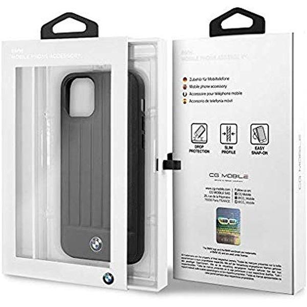 BMW iPhone 11 Pro Max csíkos fekete kemény bőrtok - 6