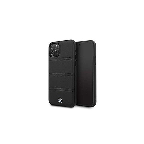 BMW iPhone 11 Pro Max vízszintesen csíkozott fekete kemény bőrtok - 1