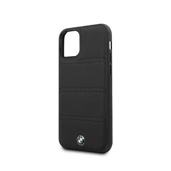 BMW iPhone 11 Pro Max vízszintesen csíkozott fekete kemény bőrtok - 2