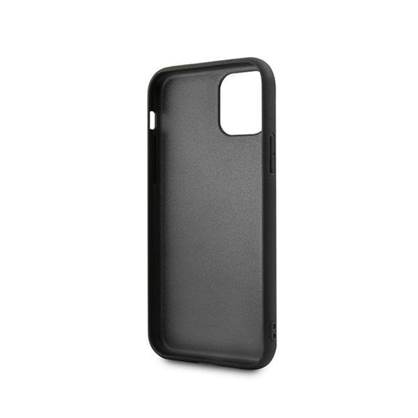 BMW iPhone 11 Pro Max vízszintesen csíkozott fekete kemény bőrtok - 3