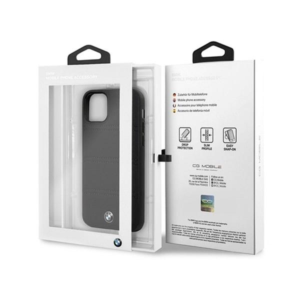 BMW iPhone 11 Pro Max vízszintesen csíkozott fekete kemény bőrtok - 4