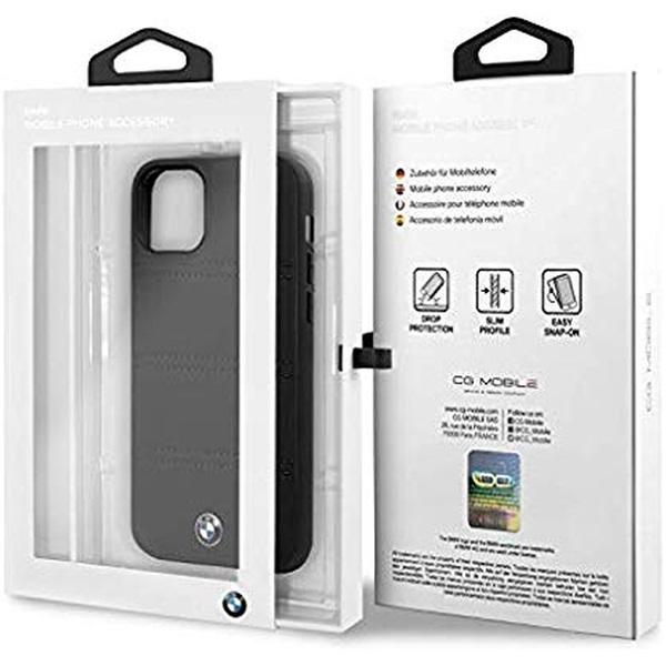BMW iPhone 11 Pro Max vízszintesen csíkozott fekete kemény bőrtok - 5