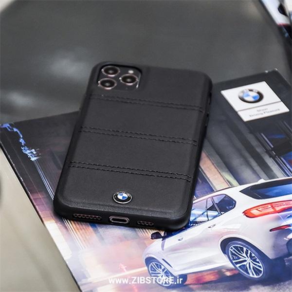 BMW iPhone 11 Pro Max vízszintesen csíkozott fekete kemény bőrtok - 6