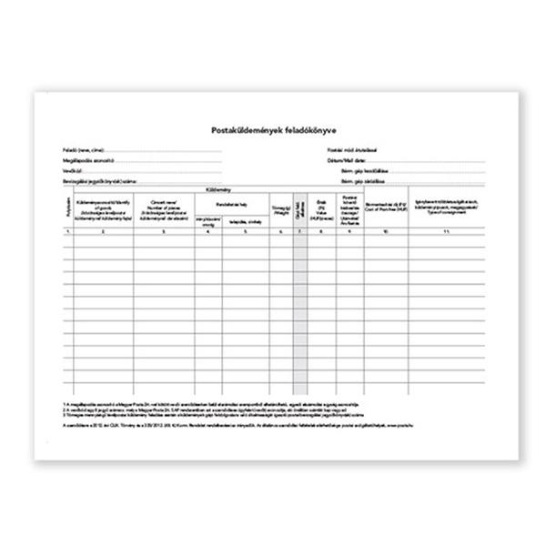 C.7976-12 A4 fekvő postaküldemények feladókönyve - 3