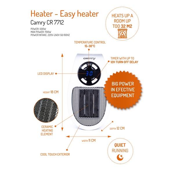 Camry CR 7712 easy heater kerámia hősugárzó - 2