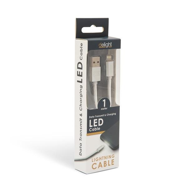 Delight LED fénnyel iPhone Lightning 1m fehér adatkábel - 4