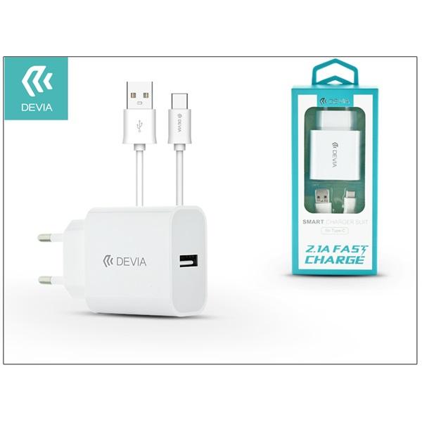 Devia ST301124 Smart 2,1A Type-C fehér hálózati töltő - 1