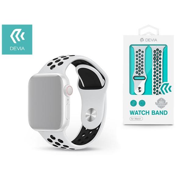Devia ST325021 Apple Watch fehér/fekete szilikon sport óraszíj - 1