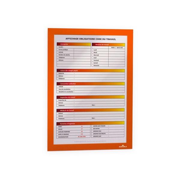 Durable Duraframe A4 2db narancssárga információs keret - 1