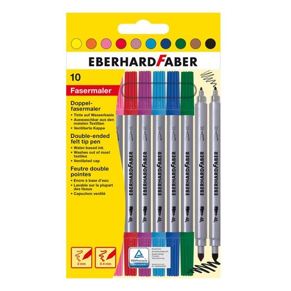 Eberhard-Faber dupla vegyes 10db-os vegyes színű rostirón készlet - 1