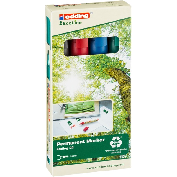 Edding 22 Ecoline 4db-os vegyes színű permanent marker készlet - 1