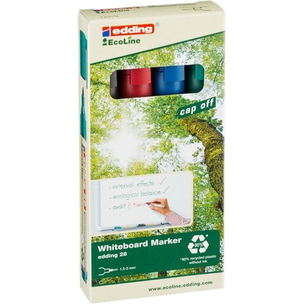 Edding 28 Ecoline 4db-os vegyes színű táblamarker készlet - 1