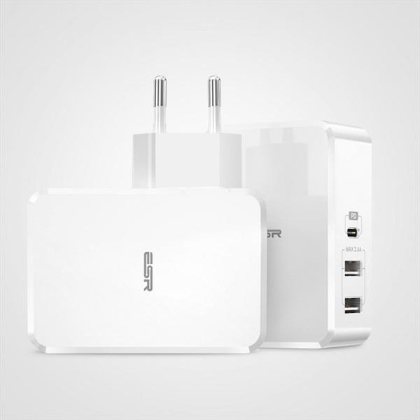 ESR 1PD-2USB 41W fehér hálózati töltő - 1