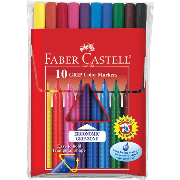 Faber-Castell Grip 10db-os vegyes színű filctoll készlet - 2