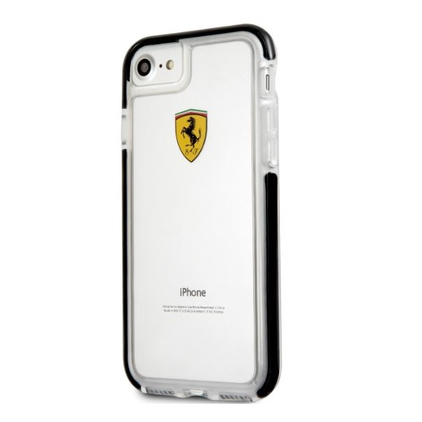 Ferrari iPhone 7 átlátszó fényes fekete tok - 1