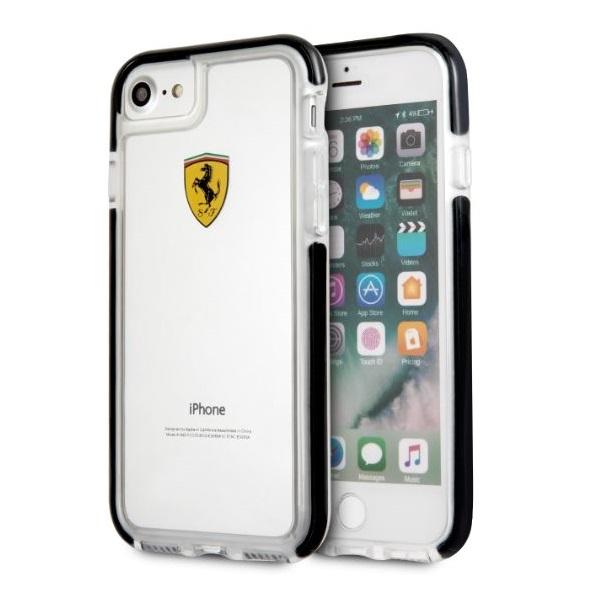 Ferrari iPhone 7 átlátszó fényes fekete tok - 2