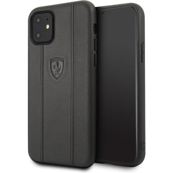 FERRARI Off Track iPhone 11 dombornyomott csíkos fekete bőrtok - 1