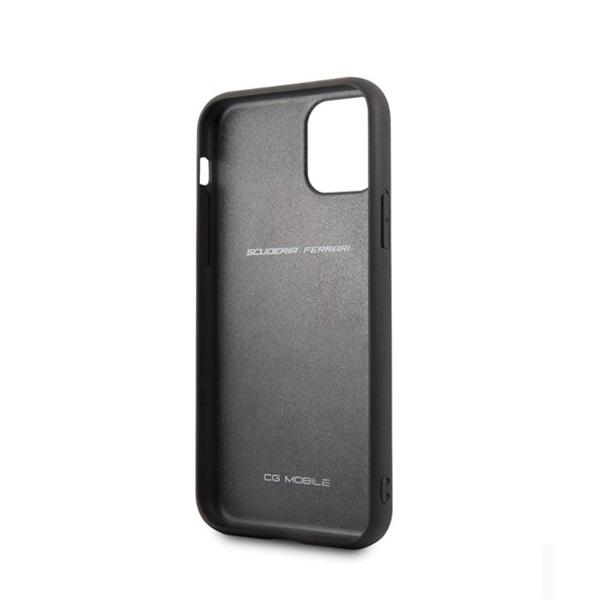 FERRARI Off Track iPhone 11 dombornyomott csíkos fekete bőrtok - 2