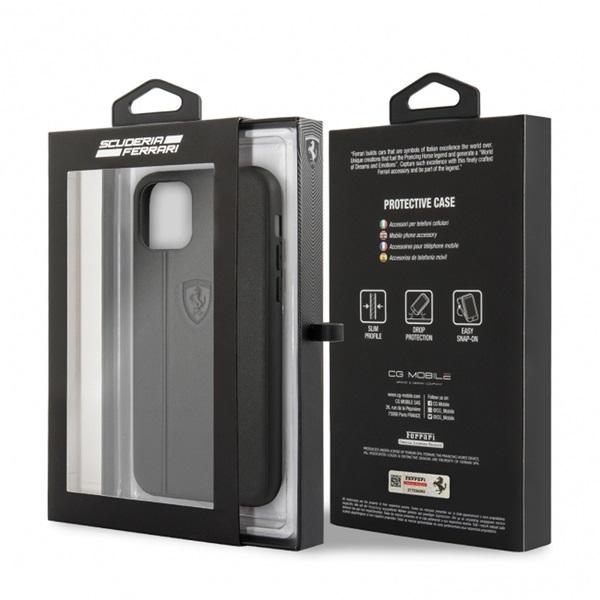 FERRARI Off Track iPhone 11 dombornyomott csíkos fekete bőrtok - 3