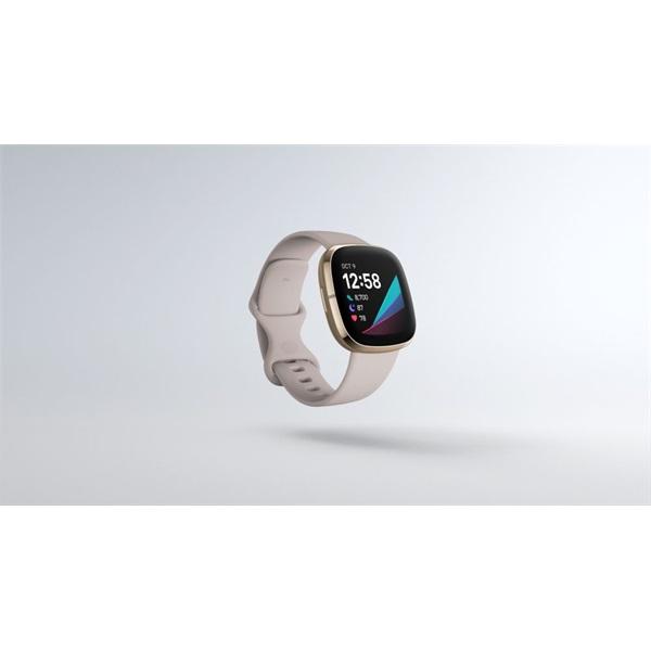Fitbit Sense rozsdamentes acél hold fehér-bársonyos arany okosóra - 1