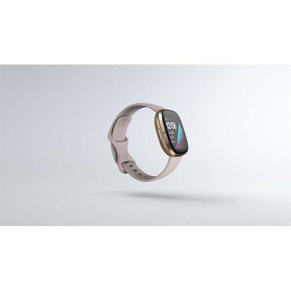 Fitbit Sense rozsdamentes acél hold fehér-bársonyos arany okosóra - 2