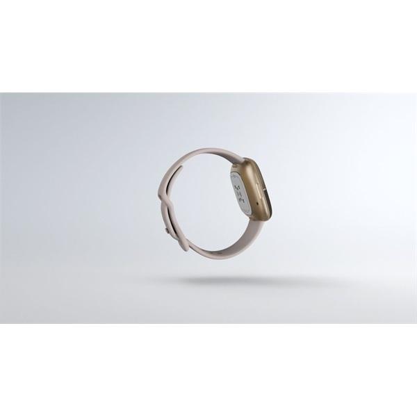 Fitbit Sense rozsdamentes acél hold fehér-bársonyos arany okosóra - 4