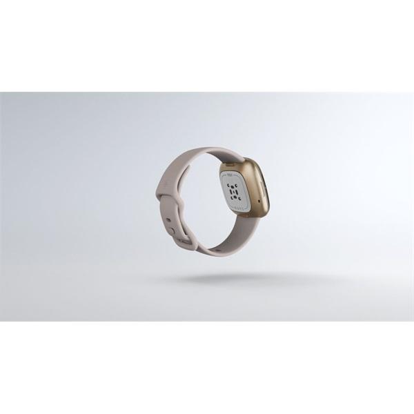 Fitbit Sense rozsdamentes acél hold fehér-bársonyos arany okosóra - 5