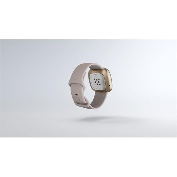 Fitbit Sense rozsdamentes acél hold fehér-bársonyos arany okosóra - 6