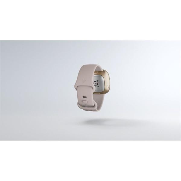 Fitbit Sense rozsdamentes acél hold fehér-bársonyos arany okosóra - 7