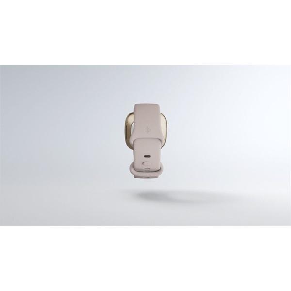 Fitbit Sense rozsdamentes acél hold fehér-bársonyos arany okosóra - 8