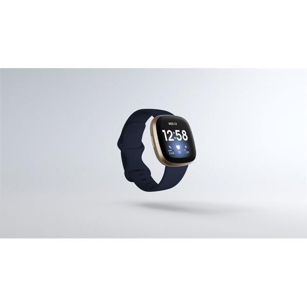 Fitbit Versa 3 aluminium éjkék-bársonyos arany okosóra - 1