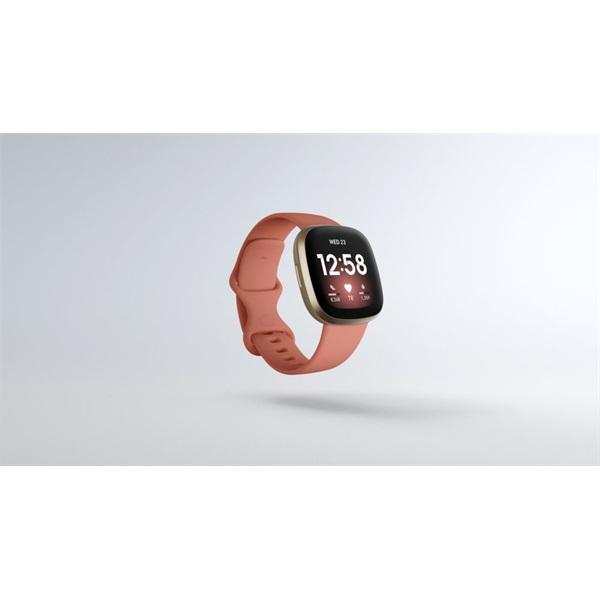 Fitbit Versa 3 aluminum agyag rózsaszín-bársonyos arany okosóra - 1
