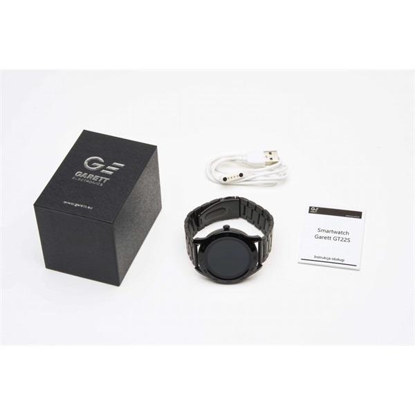 Garett GT22S fekete fém szíjas okosóra - 4