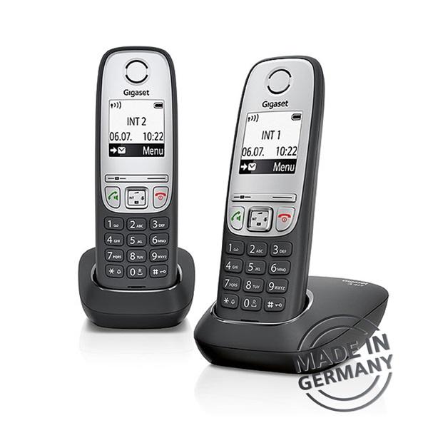 Gigaset A415 DUO hívóazonosítós kihangosítható fekete/ezüst dect telefon - 1