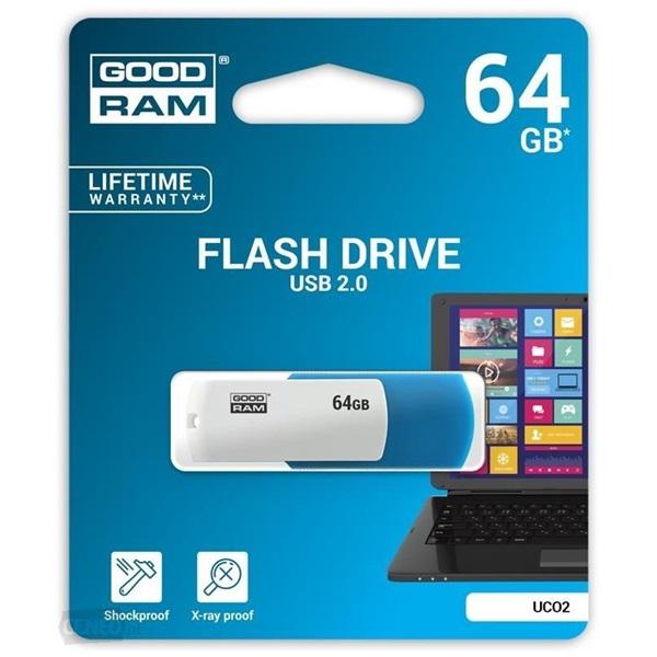 GOODRAM 64GB USB2.0 UCO2 Kék-fehér (UCO2-0640MXR11) Flash Drive - 1