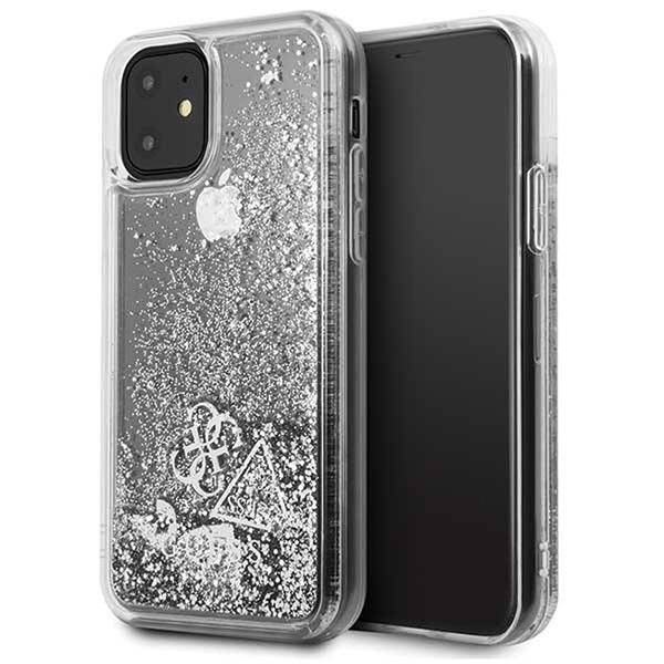 GUESS iPhone 11 csillámos folyadékos szíves ezüst kemény tok - 1