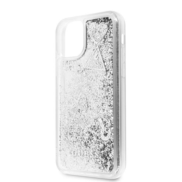 GUESS iPhone 11 csillámos folyadékos szíves ezüst kemény tok - 2