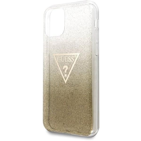 GUESS iPhone 11 Pro csillámos folyadékos háromszöges arany TPU tok - 2