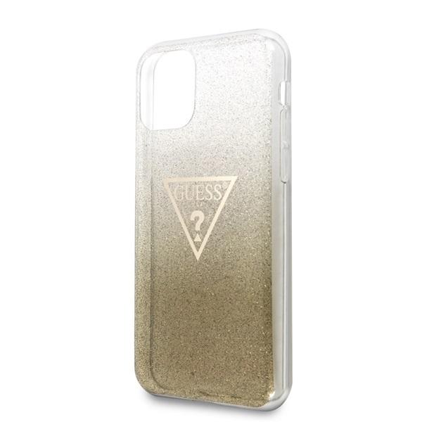 GUESS iPhone 11 Pro csillámos folyadékos háromszöges arany TPU tok - 3
