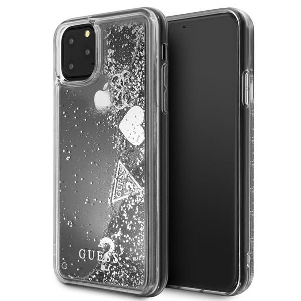 GUESS iPhone 11 Pro csillámos folyadékos szíves ezüst kemény tok - 1
