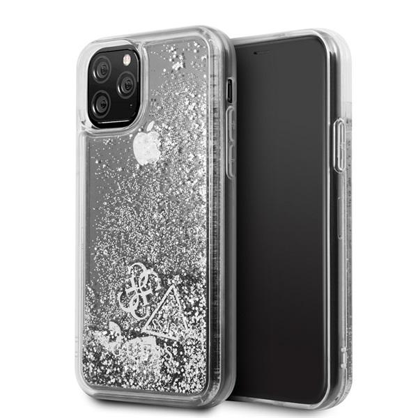 GUESS iPhone 11 Pro csillámos folyadékos szíves ezüst kemény tok - 4