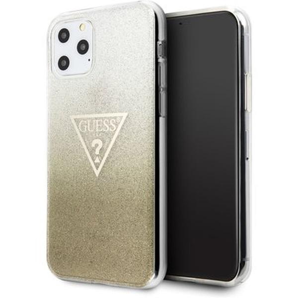 GUESS iPhone 11 Pro Max csillámos folyadékos háromszöges arany TPU tok - 1