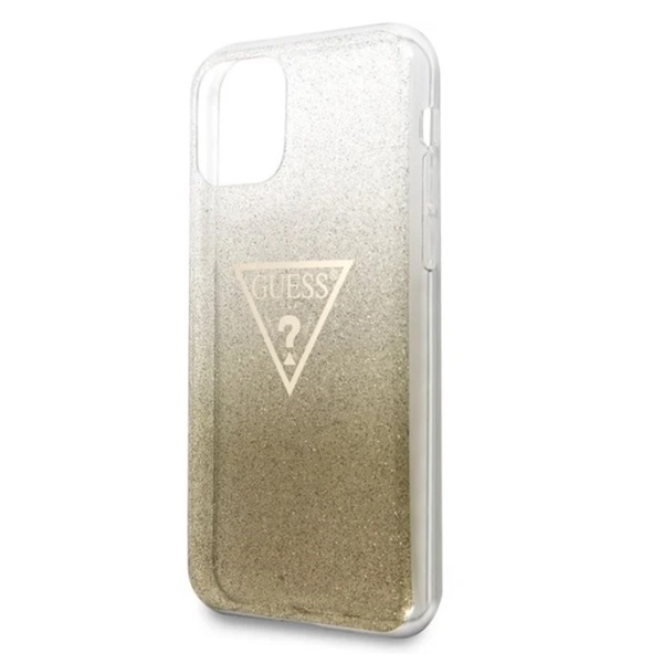GUESS iPhone 11 Pro Max csillámos folyadékos háromszöges arany TPU tok - 2