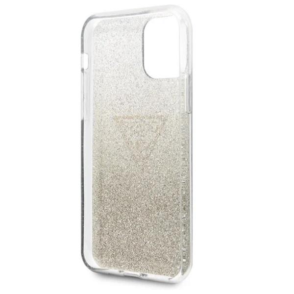 GUESS iPhone 11 Pro Max csillámos folyadékos háromszöges arany TPU tok - 3