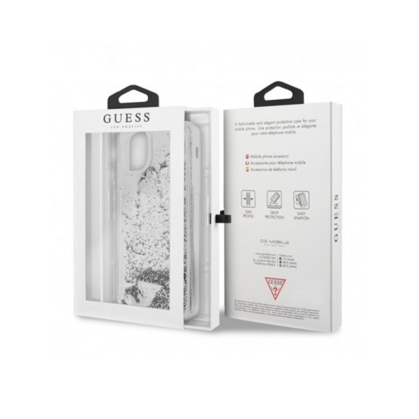 GUESS iPhone 11 Pro Max csillámos folyadékos szíves ezüst kemény tok - 4